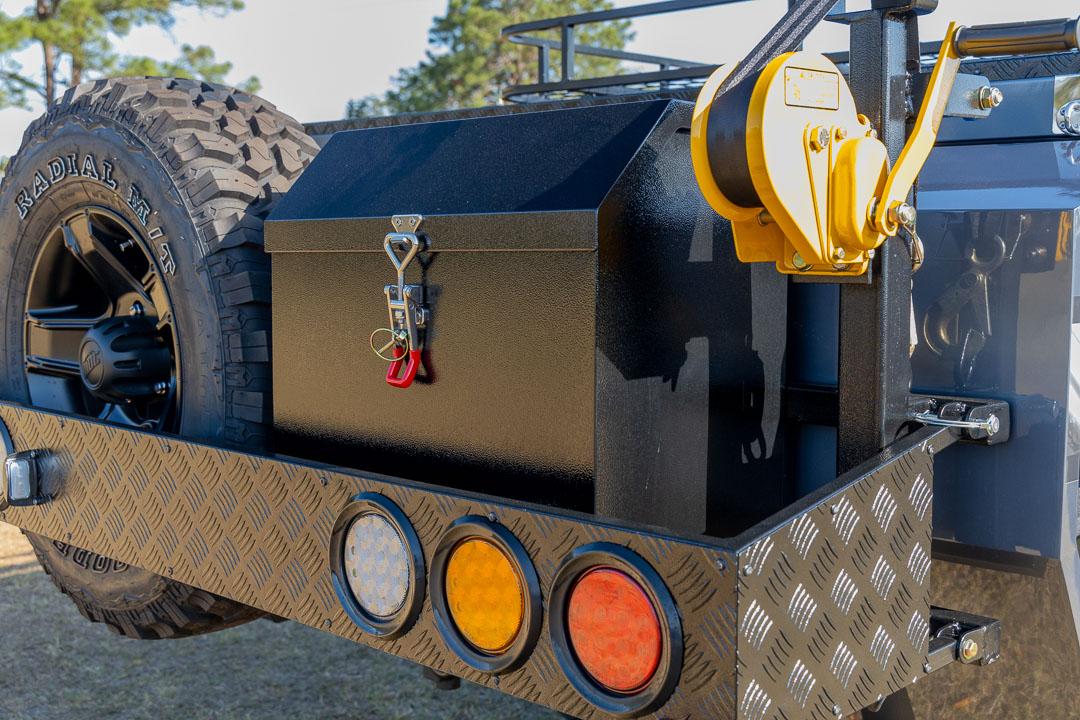 AUSRV GT forward fold offroad camper trailer exterior rear tyre & storage