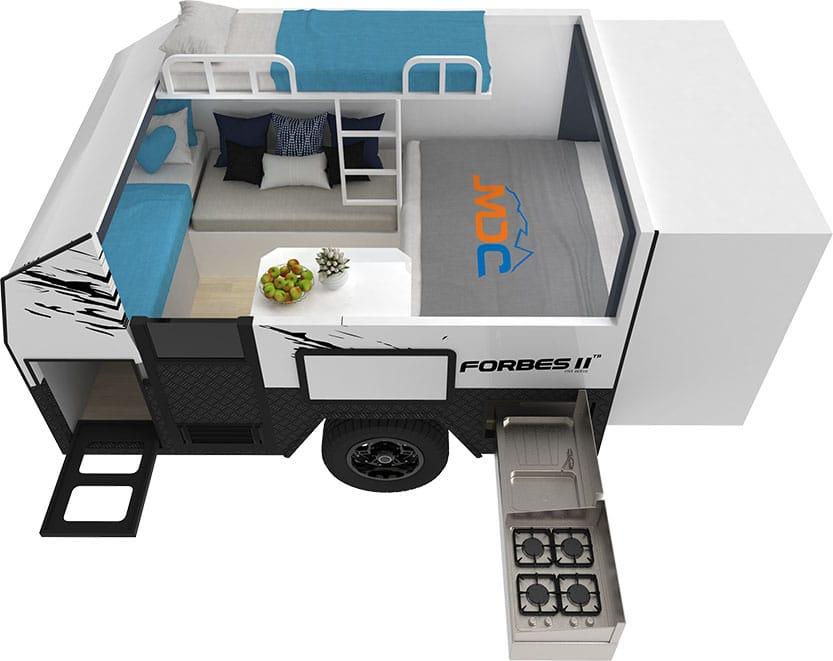 MDC Forbes 11plus TB Offroad Caravan 3D Floorplan