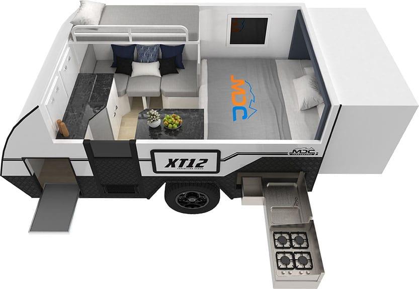 MDC XT12DB Offroad Caravan 3D Floorplan