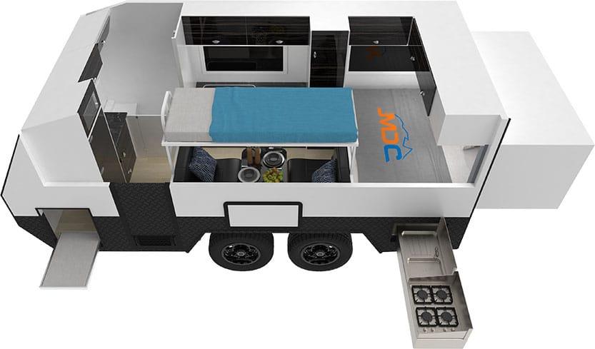 MDC XT17HRTDB Offroad Caravan 3D Floorplan