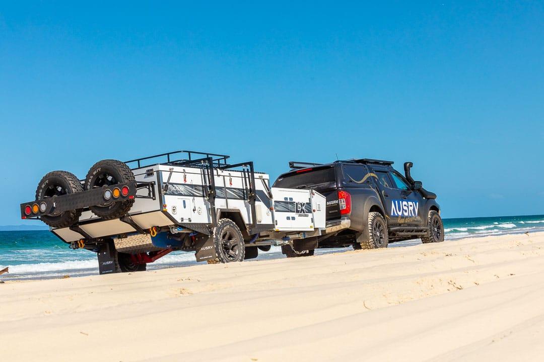 AUSRV LX Double Fold Offroad Camper Trailer Beach Driving