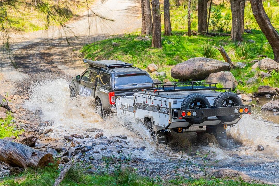 AUSRV LX Double Fold Offroad Camper Trailer 4WD Driving Across Creek