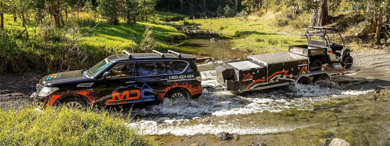 MDC XH7.4 Xpedition Hauler Offroad Camper Trailer River Crossing