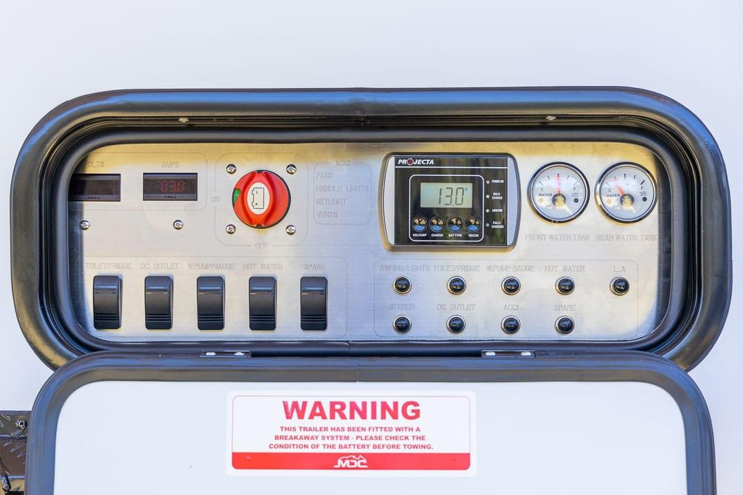 MDC XT12E Offroad Caravan Exterior Control Panel