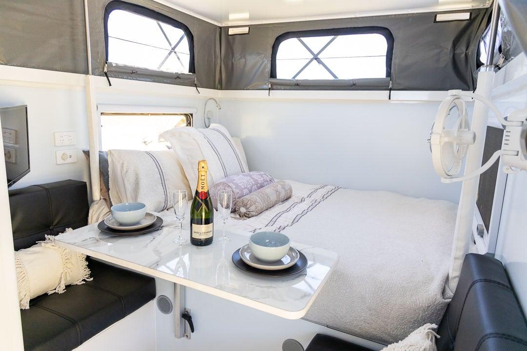 MDC XT12E Offroad Caravan Interior Dining Table & Bed