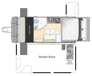 AUSRV XL15-4 Off Road Caravan 2D Floorplan