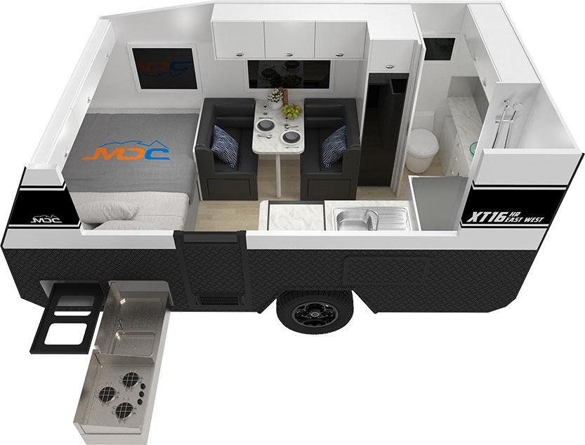 MDC XT16HR East West Offroad Caravan 3D Floorplan