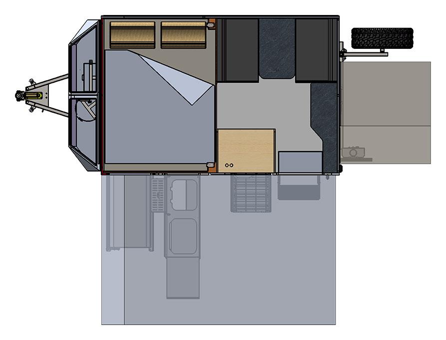 MDC XT10E Electric Opening Offroad Caravan 2D Floorplan