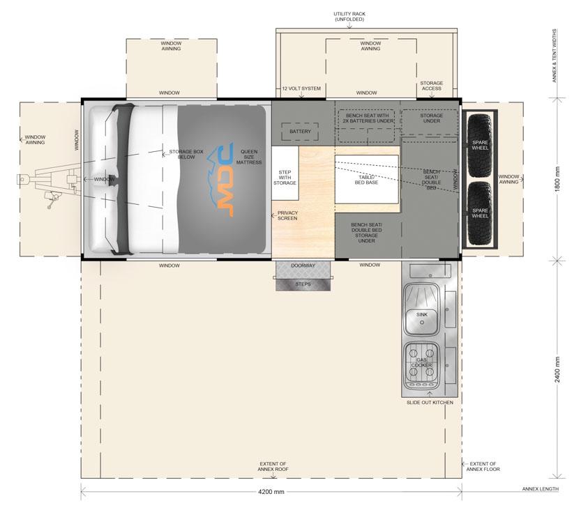 MDC AU Cruizer Highside offroad camper trailer 2D Floorplan