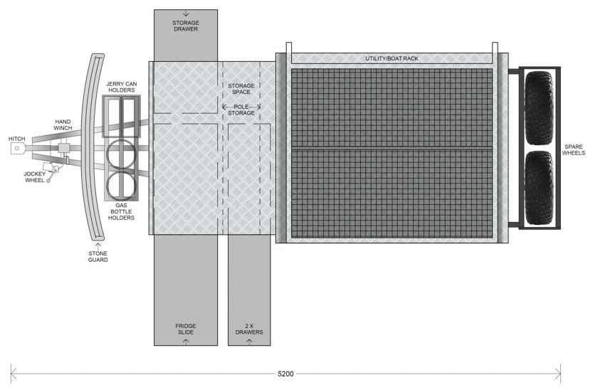 MDC AU Jackson Forward Fold offroad camper trailer 2D Floorplan