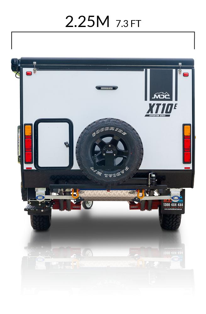 MDC XT10E Offroad Caravan Exterior Rear View Depth Measurements