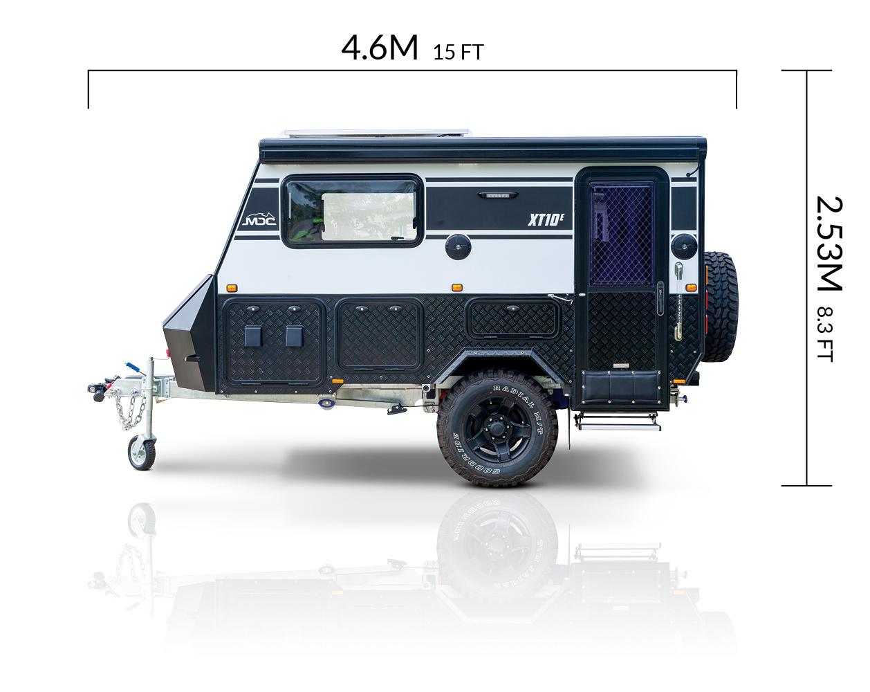 MDC XT10E Offroad Caravan Exterior Side View Width & Height Measurements