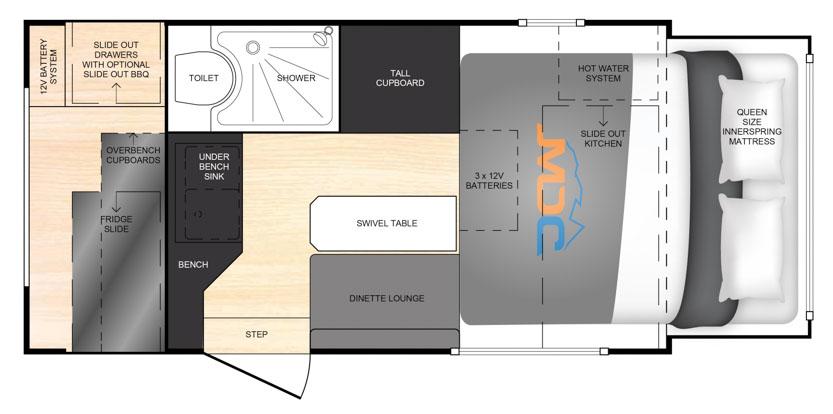 MDC AU XT12 offroad caravan 2D Floorplan