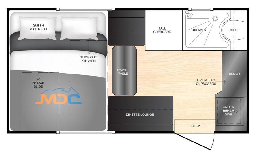 MDC AU XT12HR offroad caravan 2D Floorplan