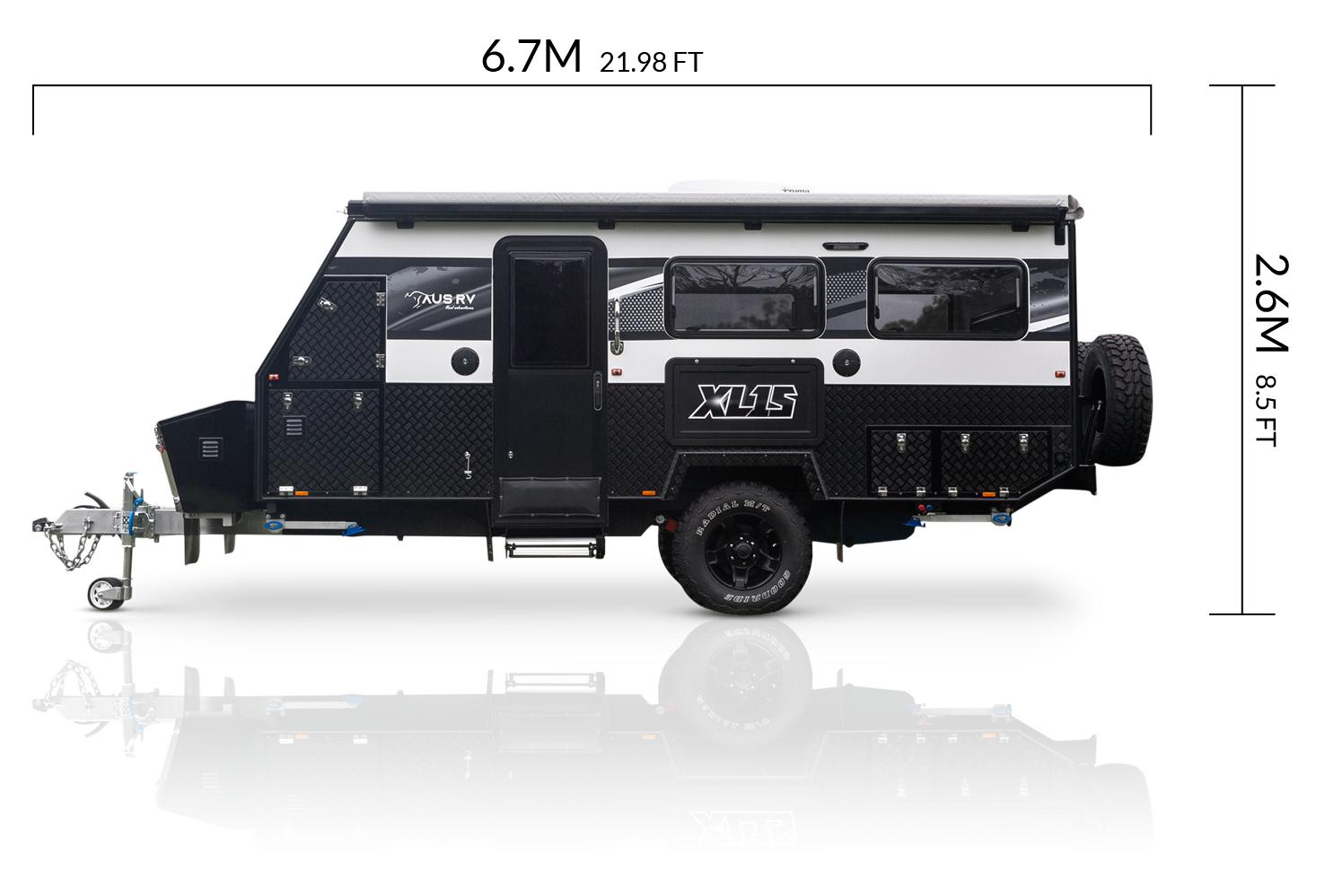AUSRV AU XL15 offroad caravan dimensions
