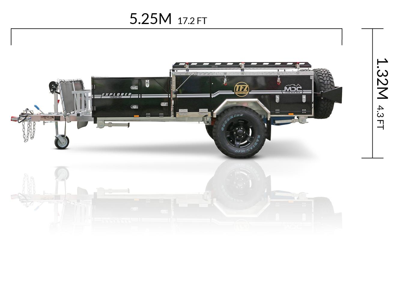MDC AU Explorer Forward Fold offroad camper trailer dimensions