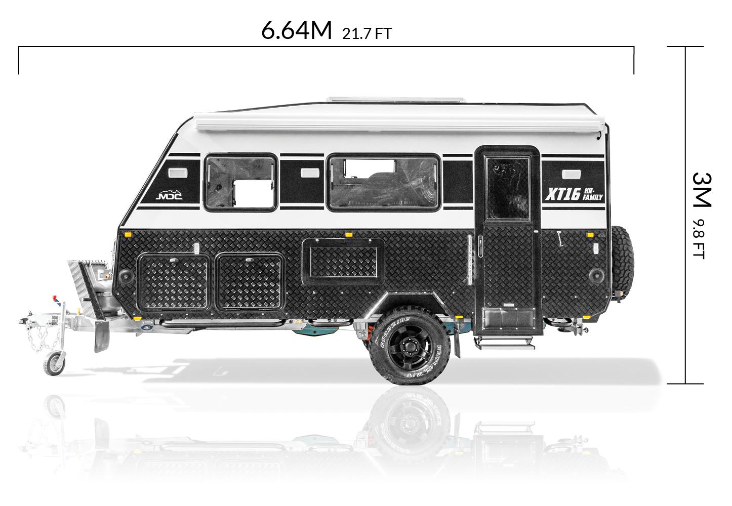 MDC AU XT16HR Family offroad caravan dimensions