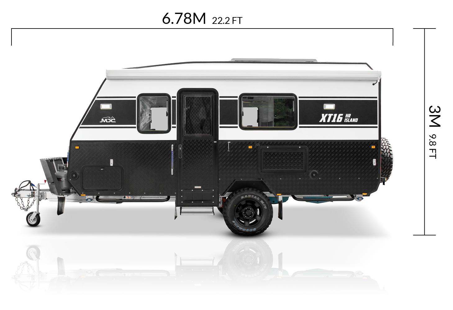 MDC AU XT16HR Island offroad caravan dimensions