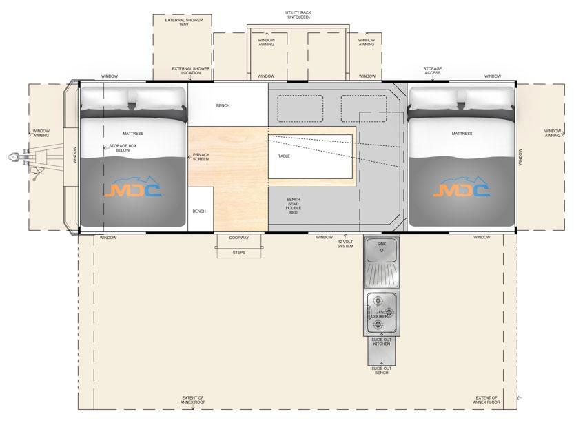 MDC AU Robson XTT offroad camper trailer 2D Floorplan